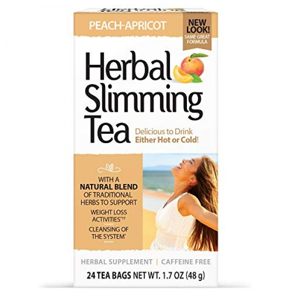 21st Century Slimming Tea, Peach Apricot, 24 Count - 3 Pack