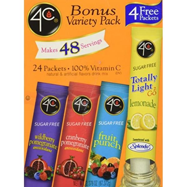 4C Totally Light To Go Bonus Variety Pack, 4 Flavors, 24-Count B...