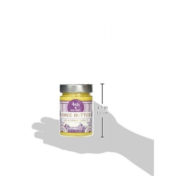 California Garlic Grass-Fed Ghee Butter by 4th & Heart, 9 Ounce,...