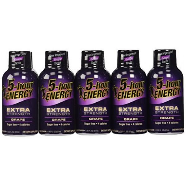 3 X 24 : 5-Hour Energy Extra Strength Nutritional Drink, Grape, ...