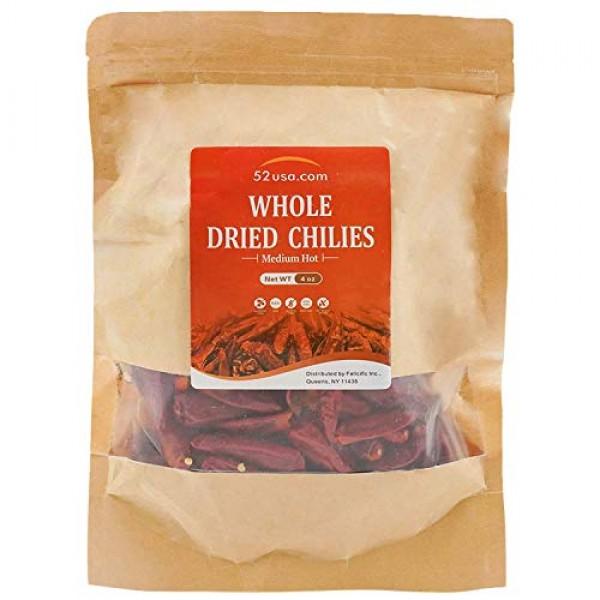 52USA Szechuan Red Dried Chilis, Whole Chili, Chinese Chili 4 Oz...