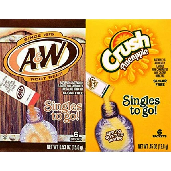A&W Root Beer & Pineapple Crush Singles To Go Drink Mix Combo P...