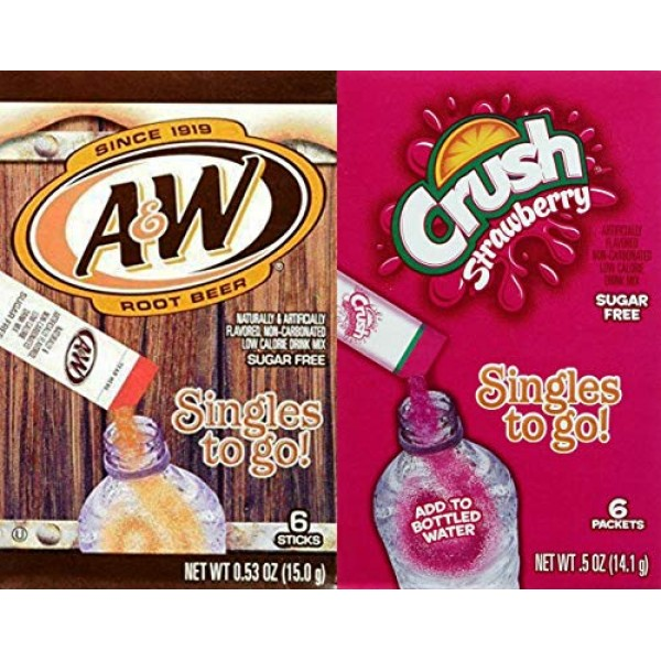 A&W Root Beer & Strawberry Crush Singles To Go Drink Mix Combo ...