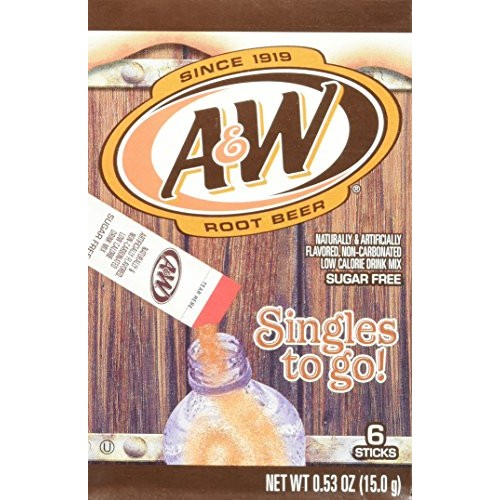 A&W Root Beer Drink Mix Singles to Go! 6 Boxes, 6 Packets Each