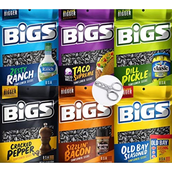 Sunflower Seeds Bigs Variety Pack 5.35 oz Resealable Bags: Ranch...