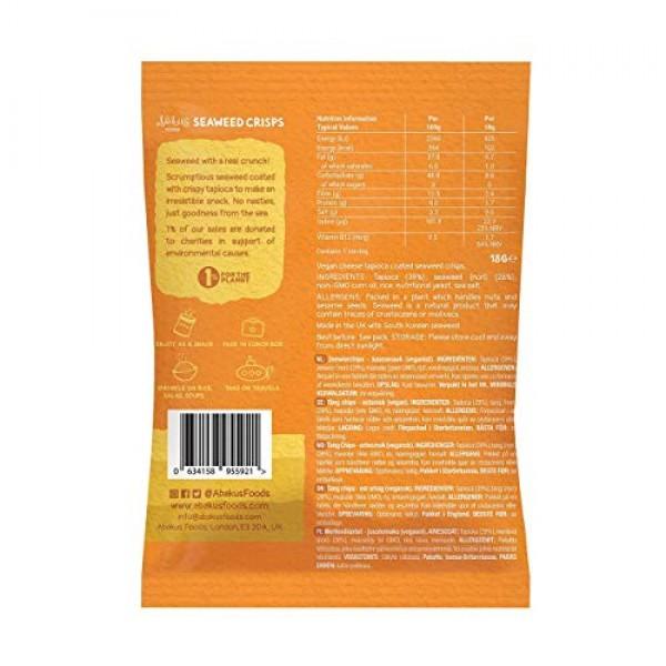 6 x Abakus Food Natural Cheese Flavour Seaweed Crisps - 0.63 oz