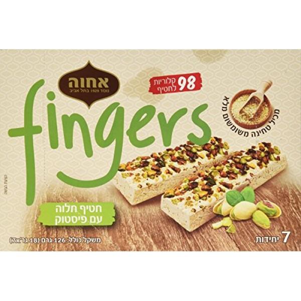 Achva Halva Fingers, Pistachio, 4.44 Ounce Pack of 12