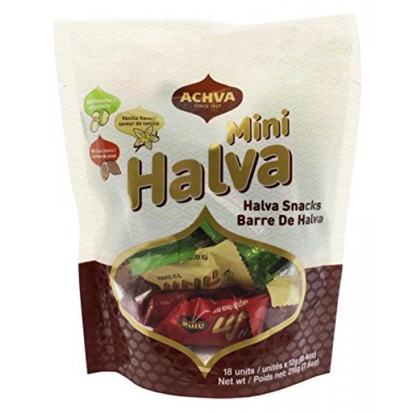 Achva Kosher Vanilla, Cocoa Beans, and Pistachio Mini Halva Bars...