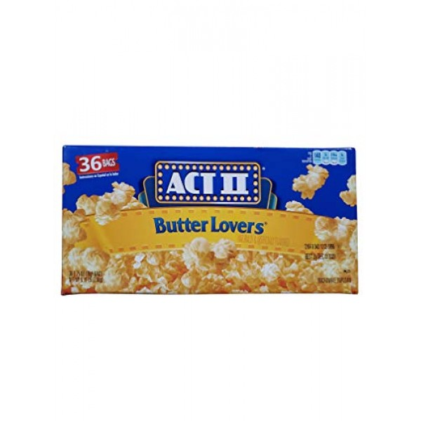 ACT 2 Butter Lovers Microwave Popcorn 5.15LB 100% Whole Grain 36...
