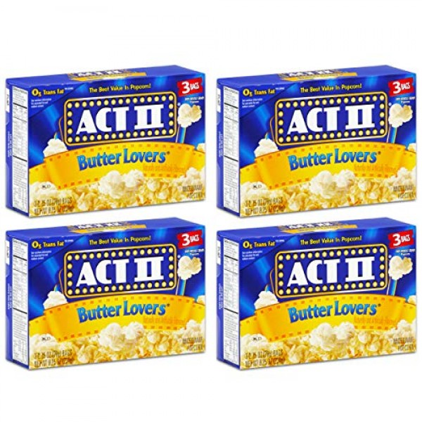 Act II Butter Lovers Microwave Popcorn 4 Boxes of 3 12 Bags Total