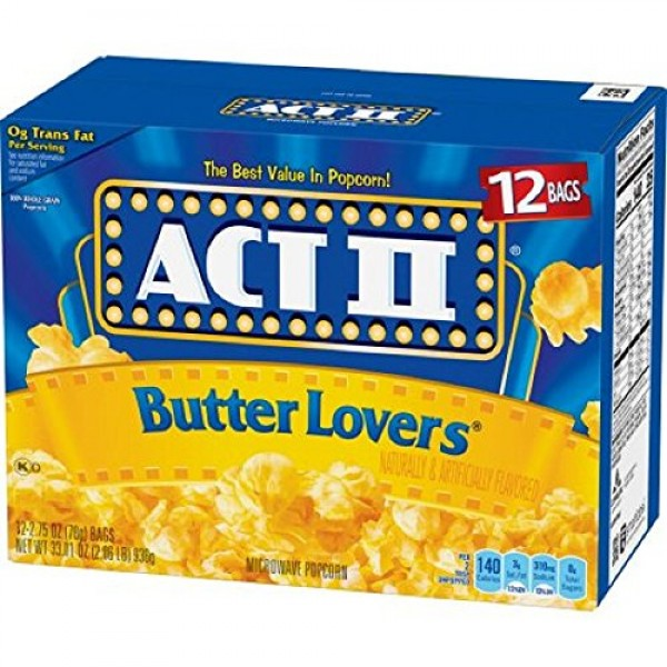 ACT II Butter Lovers Microwave Popcorn, Classic Bag, 12 Ct Pack...