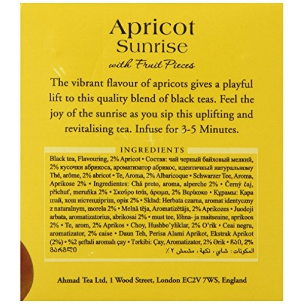 Ahmad Tea Apricot Sunrise Black Tea, 20 Tea Bags Boxes Pack of 6