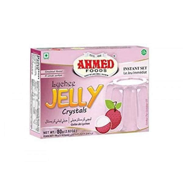 AHMED Halal Jello Vegetarian Crystal Jelly, Lychee, 85 Gram Pac...