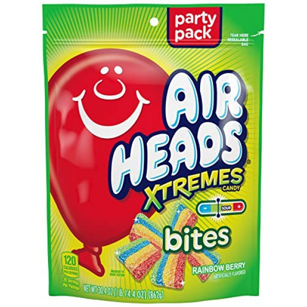 AirHeads Xtremes Bites, Rainbow Berry, Party, 30.4 OZ Stand Up Bag