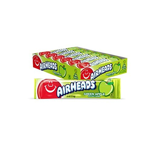 Airheads Candy, Individually Wrapped Full Size Bars, Green Apple...