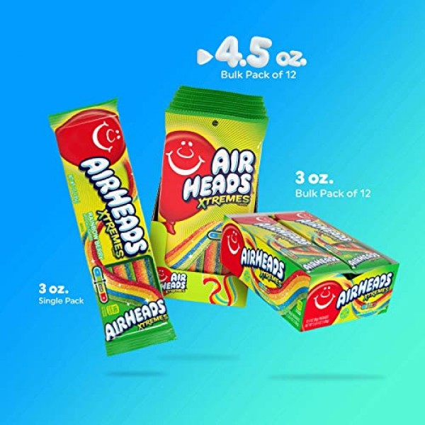 Airheads Xtremes Belts Sour Candy Candy, Rainbow Berry, Non Melt...