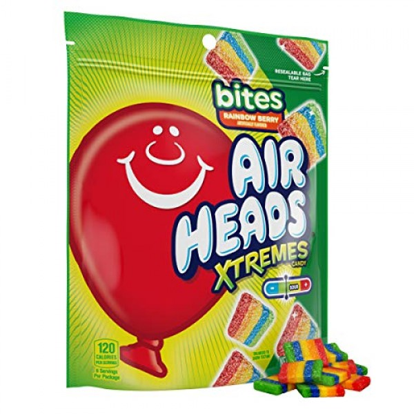Airheads Xtremes Bites Sweetly Sour Candy, Rainbow Berry, Non Me...