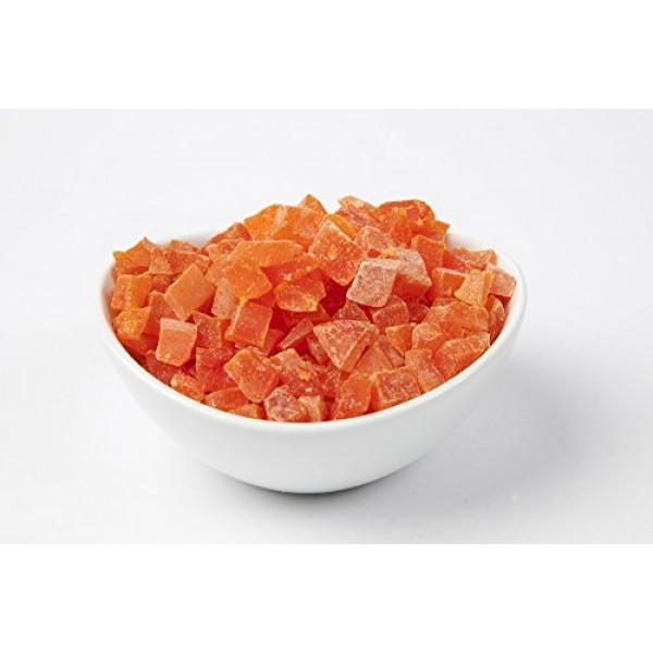 AIVA Natural Dried Papaya Dices, Low Sugar, Unsulphured, 2 lb