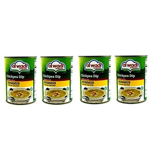 Al Wadi Al Akhdar Lebanese Hummus Chickpea Dip 4 Cans 14oz. 400g...