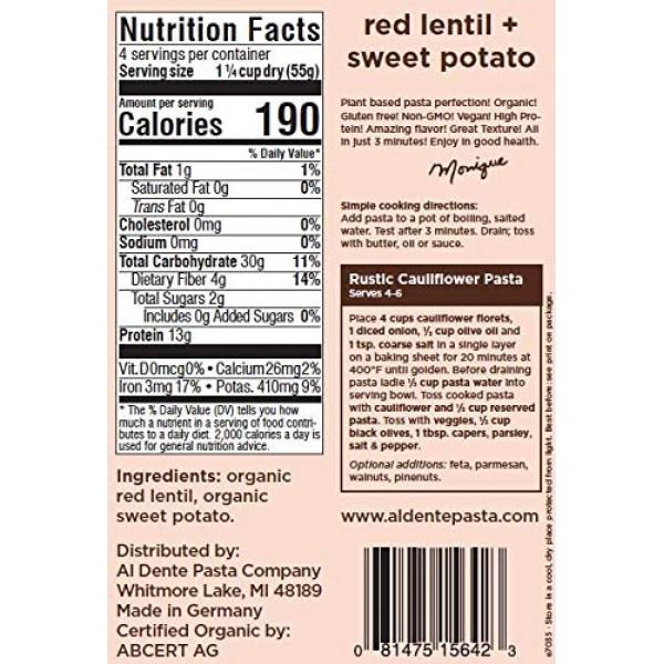 Al Dente Plant Based Pasta Red Lentil + Sweet Potato, 8 Ounce P...