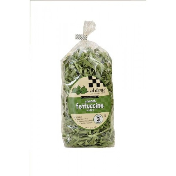Al Dente Spinach Fettuccine, 12-Ounce Bag Pack of 2