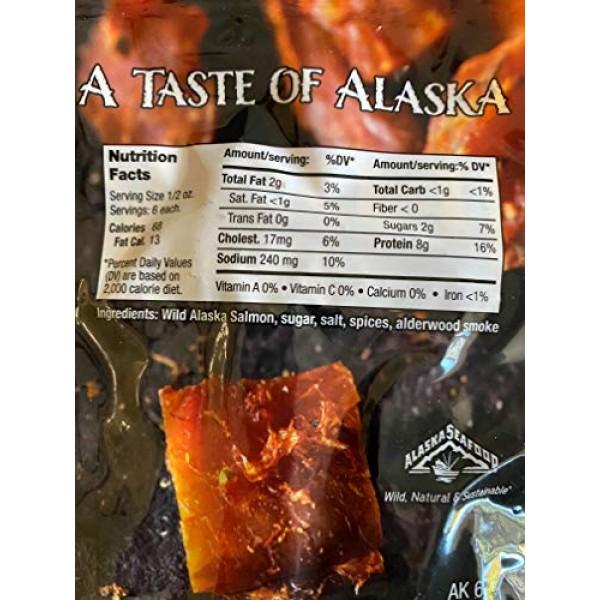 All Natural Smoked Salmon Jerky 3-Pack - Made in USA Alaska