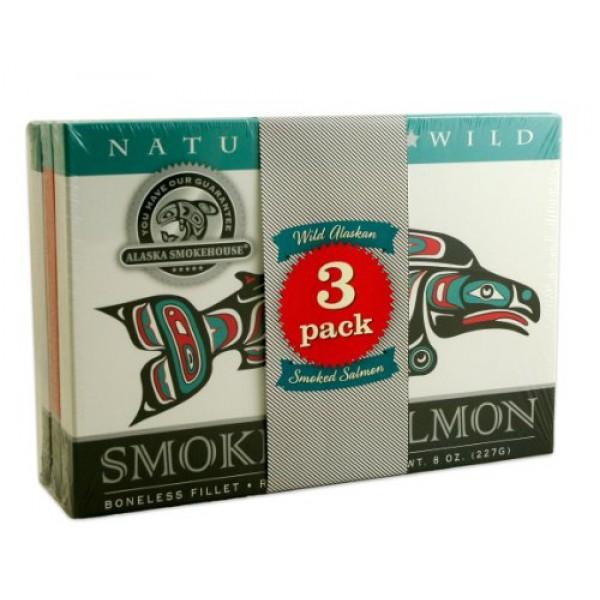 Alaska Smokehouse Jumbo Smoked Salmon 8 Oz, 3Count Variety Pack
