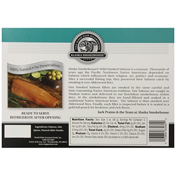 Alaska Smokehouse Smoked Salmon Fillet, 8 Ounce Gift Box
