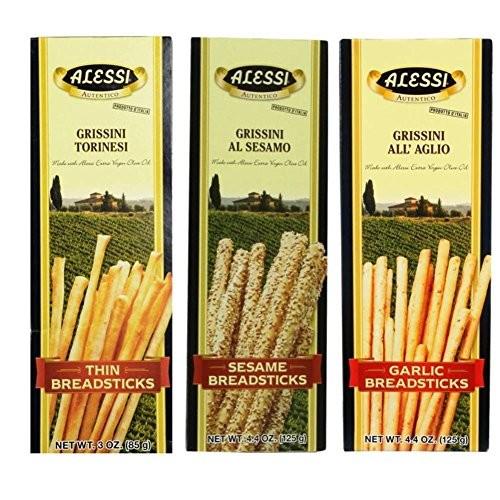 Alessi Authentic Italian Breadsticks 3 Flavor 6 Box Variety Bund...