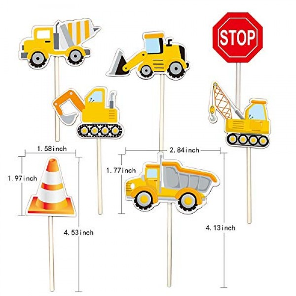 35-Pack Construction Cupcake Toppers Picks, Dump Truck Excavator...