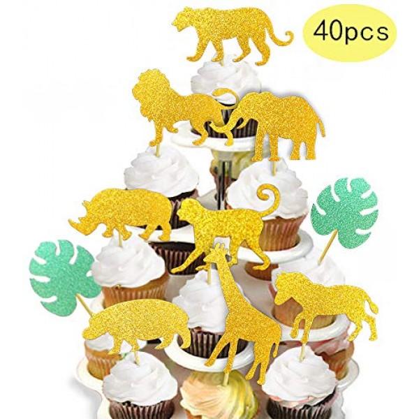 ALISSAR 40-Pack Glitter Safari Jungle Animal Cupcake Toppers wit...