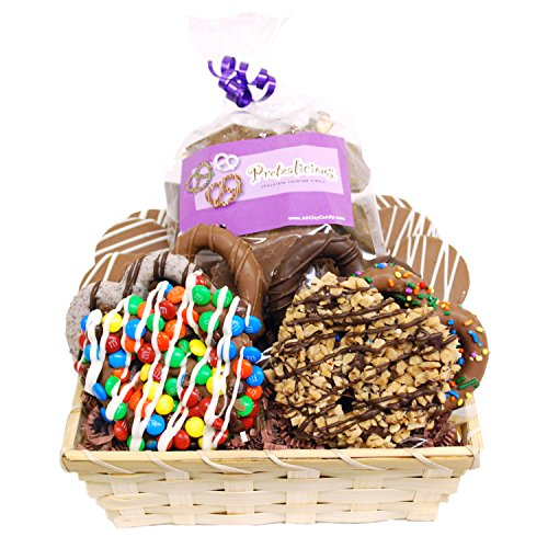 Dreamy Delight Gourmet Chocolate Covered Pretzels and Cookies Ba...