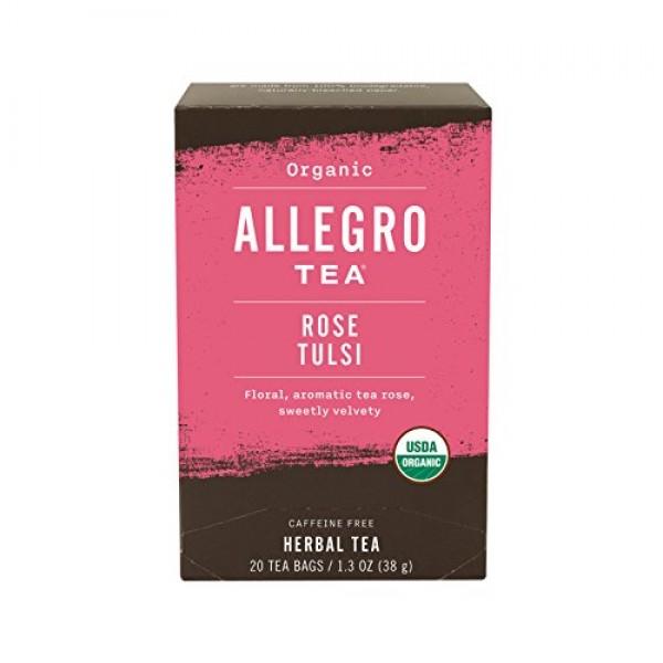 Allegro Tea, Organic Rose Tulsi Tea Bags, 20 ct