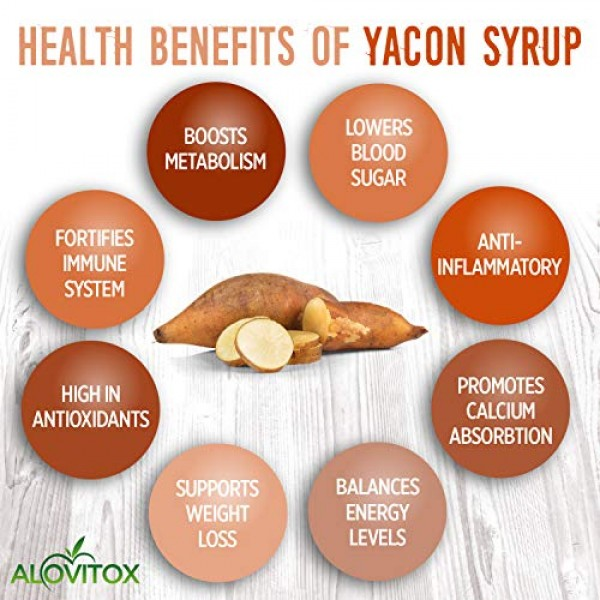 100% Pure Yacon Syrup USDA Organic Natural Sweetener Rich in Ant...