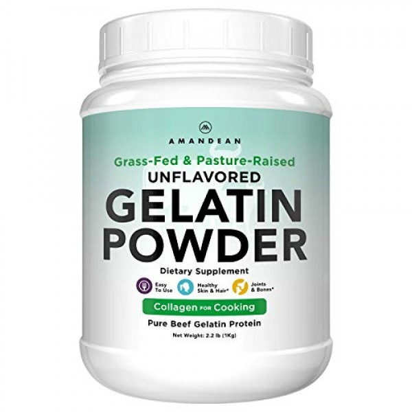 Amandean Grass Fed Beef Gelatin Powder XL 2.2lbs | Unflavored ...