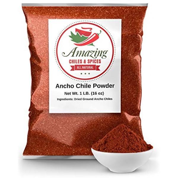 Ancho Chile Pepper Powder Ground 1 LB 16oz – All Natural - Gre...