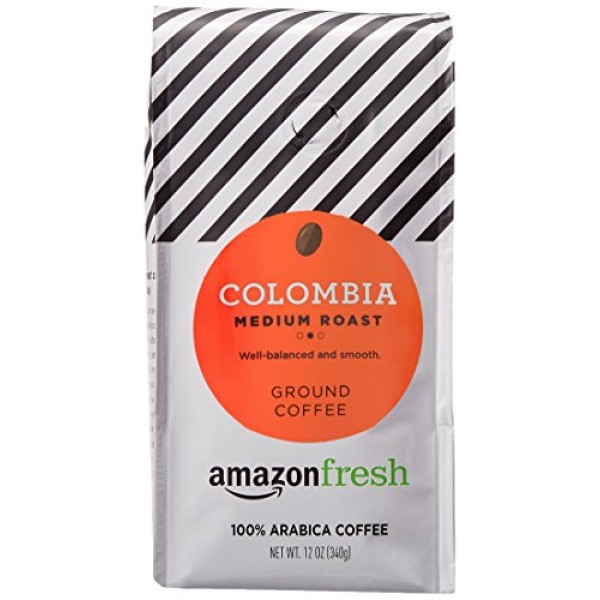 AmazonFresh Colombia Ground Coffee, Medium Roast, 12 Ounce