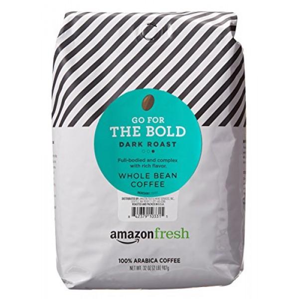AmazonFresh Dark Roast Whole Bean Coffee, 32 Ounce Pack of 1