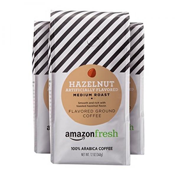 AmazonFresh Hazelnut Flavored Coffee, Ground, Medium Roast, 12 O...