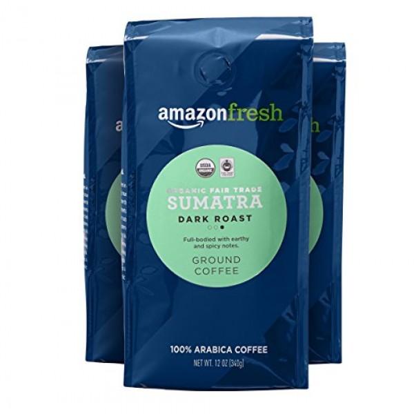 AmazonFresh Organic Fair Trade Sumatra Ground Coffee, Dark Roast...