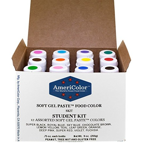 Food Coloring AmeriColor Student Kit, 12 .75 Ounce Bottles Soft ...