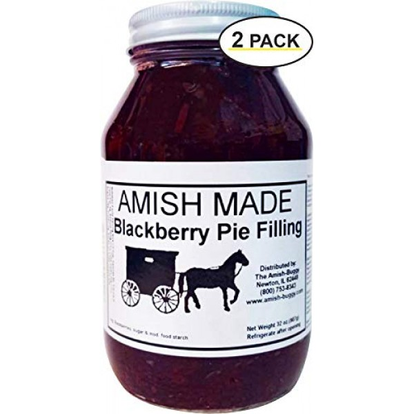 Amish Pie Filling - TWO 32 Oz Jars Blackberry