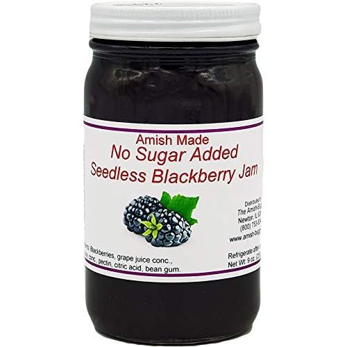 No Sugar Added Seedless Blackberry Amish Jam - 8 Oz Set of 3 Jars