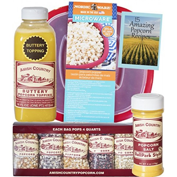 Amish Country Popcorn - 10 4 Ounce Microwave Bowl Gift Set - O...