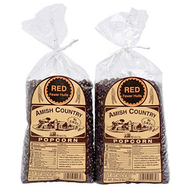 Amish Country Popcorn | 2 - 2 lb Bags | Red Popcorn Kernels | Ol...