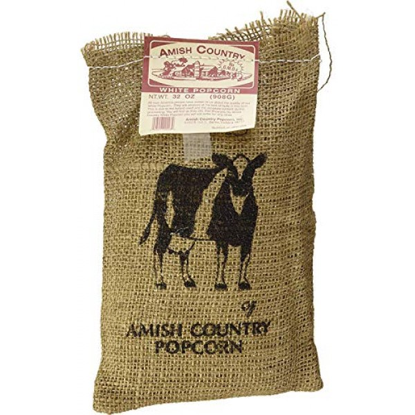 Amish Country Popcorn - 2 Lb Burlap Medium White Kernels - Old F...