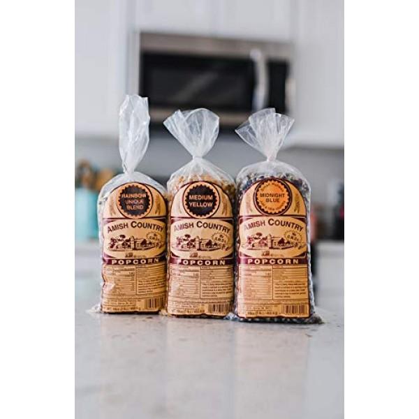 Amish Country Popcorn - 3 1 lb. Gift Set Midnight Blue, Rainbo...