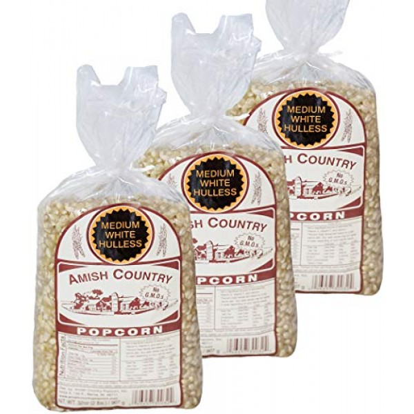 Amish Country Popcorn | 3 2 Pound Bags Medium White Kernels Gi...