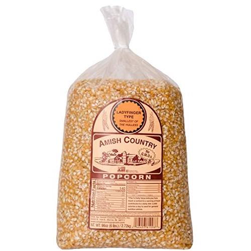 Amish Country Popcorn - 6 Lb Ladyfinger Kernels - Old Fashioned,...
