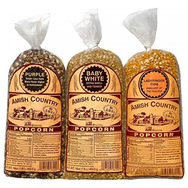 Amish Country Popcorn - Variety Bundles - 3 1 Lb Bags - Baby Wh...